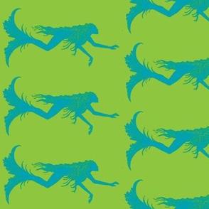 Swimming Mermaids-blue/green