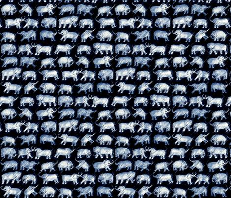 elephant repeat white on indigo fabric by pricklymonkey on Spoonflower - custom fabric