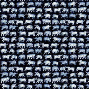 elephant repeat white on indigo