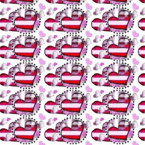 Valentines purple and pink heart fabric10