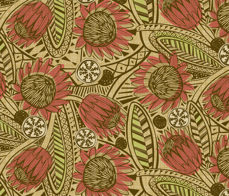 Flora Africa Protea fabric by cjldesigns on Spoonflower - custom fabric