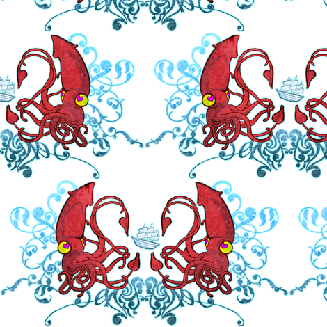 Of Ships and Sea Monsters Part 2 fabric by jadegordon on Spoonflower - custom fabric