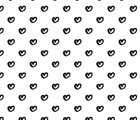 Hearts in Black fabric by jenniferpitchers on Spoonflower - custom fabric
