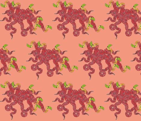 nest_of_snakes_salmon_bkgrd fabric by chiara_g on Spoonflower - custom fabric