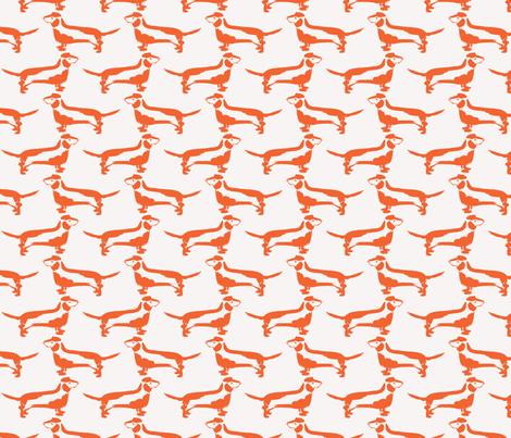Dachshund in Orange fabric by jenniferpitchers on Spoonflower - custom fabric