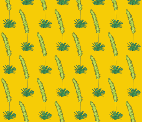 yellow background pampas grass fabric by chiara_g on Spoonflower - custom fabric