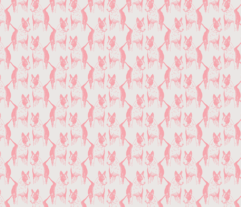 Old English Bull Terrier in Pink fabric by jenniferpitchers on Spoonflower - custom fabric