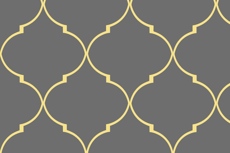 Kate Trellis in Citron and Cashmere Gray fabric by willowlanetextiles on Spoonflower - custom fabric