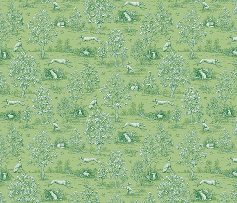 Green on Green Toile with greyhounds - coordinate fabric by artbyjanewalker on Spoonflower - custom fabric