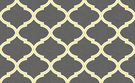 Kate Trellis in Citron & Charcoal Linen fabric by willowlanetextiles on Spoonflower - custom fabric
