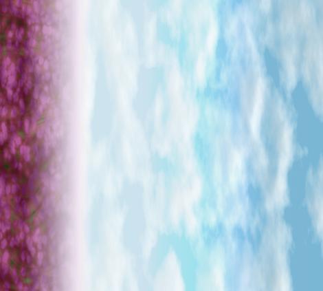 Sakurama - Sky and flower field - border fabric by bonnie_phantasm on Spoonflower - custom fabric