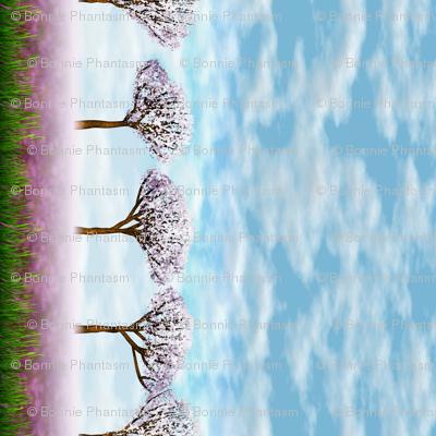 Sakurama - Sky, Cherry trees, Flower field and grass