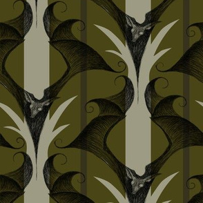 Stripes and Bats - dark olive