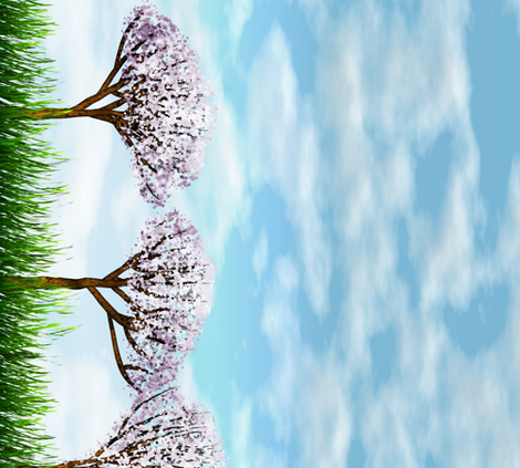 Sakurama - Sky, cherry trees and grass border fabric by bonnie_phantasm on Spoonflower - custom fabric