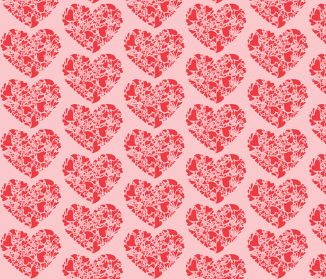 Valentine Hearts-coral and pink fabric by reganraff on Spoonflower - custom fabric