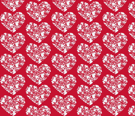 Valentine Hearts-white and red fabric by reganraff on Spoonflower - custom fabric