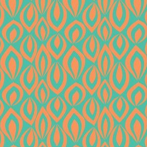Leafyrific-orange on turquoise