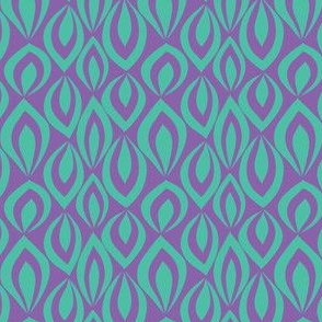 Leafyrific-turquoise on purple