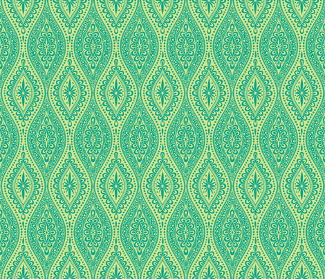 Scallopy-emerald on lime fabric by groovity on Spoonflower - custom fabric