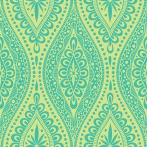 Scallopy-turquoise on lime