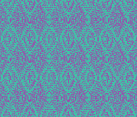 Scallopy-purple on turquoise fabric by groovity on Spoonflower - custom fabric