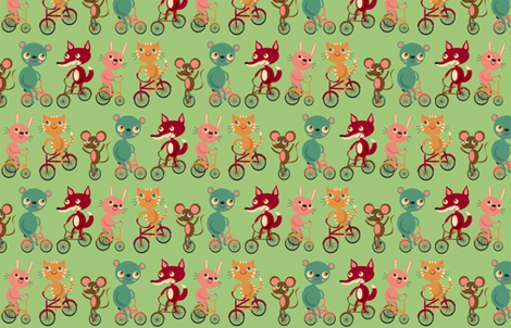 Animals On Bikes fabric by heidikenney on Spoonflower - custom fabric