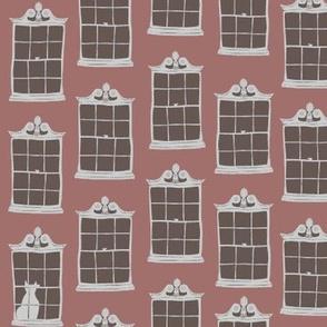 window cats - brick madder