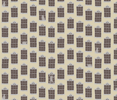 window cats - dustbin_yellow fabric by glimmericks on Spoonflower - custom fabric