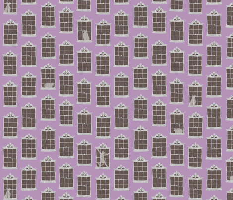 window cats - orchid_dusk fabric by glimmericks on Spoonflower - custom fabric
