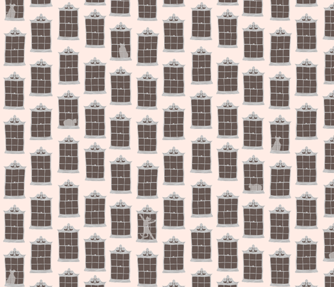 window cats - pink_stucco fabric by glimmericks on Spoonflower - custom fabric