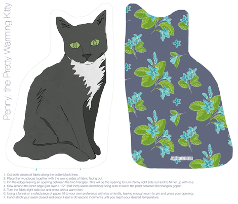 Penny, the Pretty Warming Kitty fabric by jennjersnap on Spoonflower - custom fabric