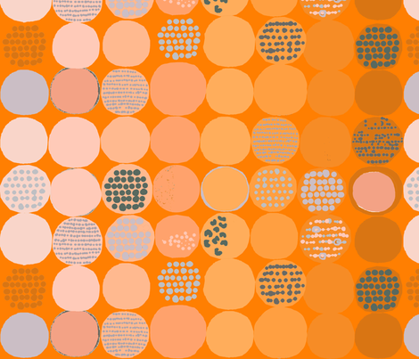 afro circles orange fabric by katarina on Spoonflower - custom fabric