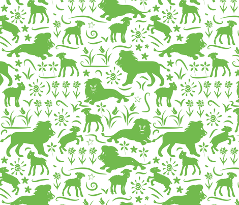 Lions & Lambs fabric by ebygomm on Spoonflower - custom fabric