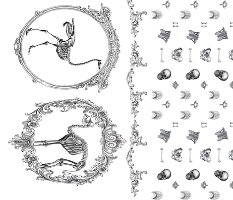 Skeletal animals fabric by bunnyhuns on Spoonflower - custom fabric