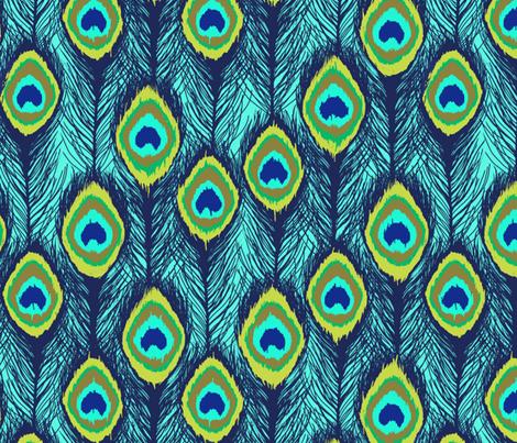 ikat aqua peacock feathers fabric by katarina on Spoonflower - custom fabric
