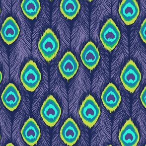 ikat peacock  feathers purple
