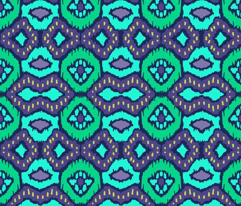 peacock ikat diamond feathers coordinate fabric by katarina on Spoonflower - custom fabric