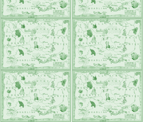 oz_map_big_with_images_green fabric by hookedbyk on Spoonflower - custom fabric