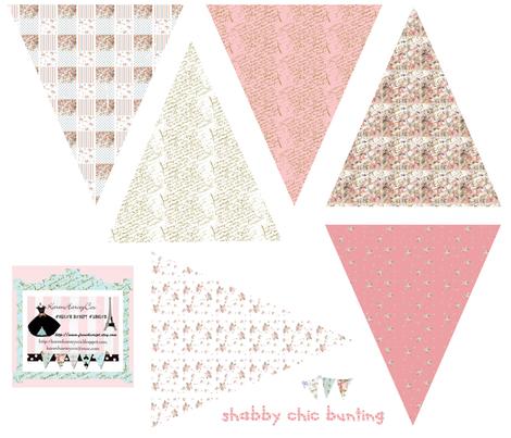 Shabby Chic small Bunting fabric fabric by karenharveycox on Spoonflower - custom fabric