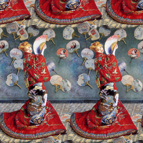 Claude Monet: La Japonaise fabric by bonnie_phantasm on Spoonflower - custom fabric