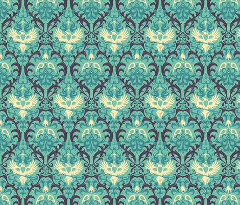 Bird Damask fabric by cola82 on Spoonflower - custom fabric