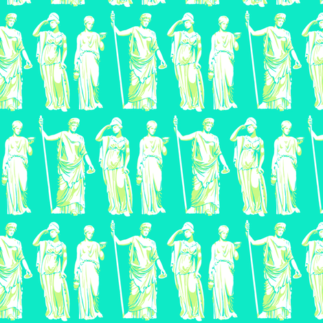Kolonaki Goddess - Cyan fabric by siya on Spoonflower - custom fabric