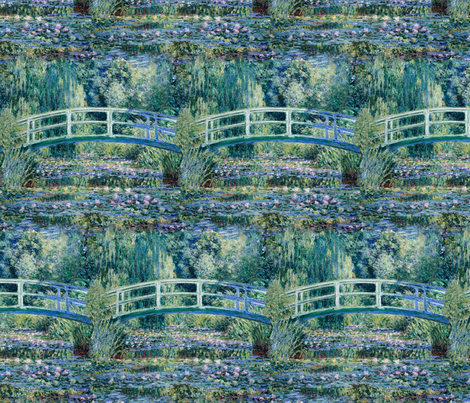 Claude Monet - Water Lilies and Japanese Bridge - SeamlessTile fabric by bonnie_phantasm on Spoonflower - custom fabric