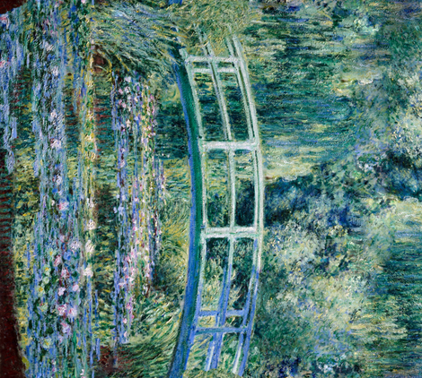 Claude Monet - Water Lilies and Japanese Bridge - 1 Yard border print fabric by bonnie_phantasm on Spoonflower - custom fabric
