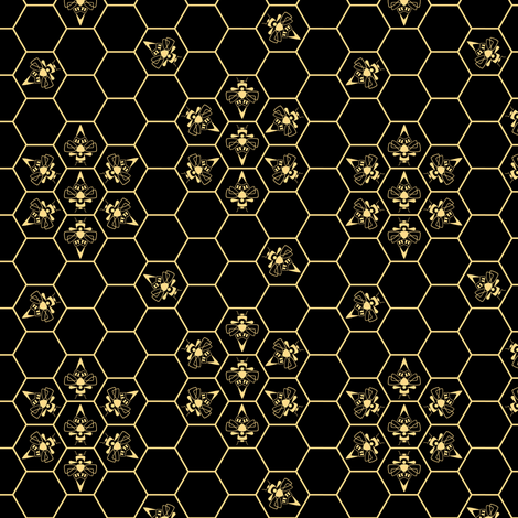 Abstract Bees and Honeycomb - Floral fabric by synaptik on Spoonflower - custom fabric