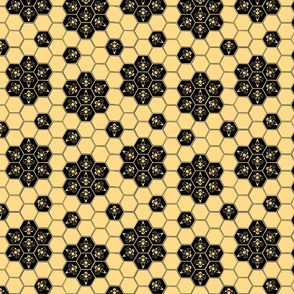 Abstract Bees and Honeycomb - Black Floral