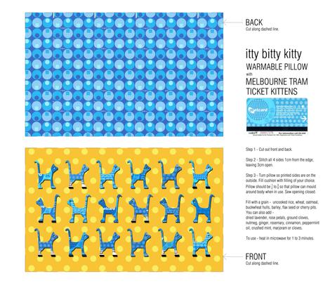 itty bitty kitty pillow fabric by kirstylovescardboard on Spoonflower - custom fabric