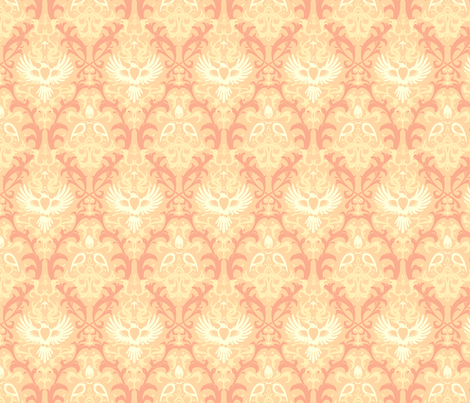 Bird Damask variation 3 fabric by cola82 on Spoonflower - custom fabric