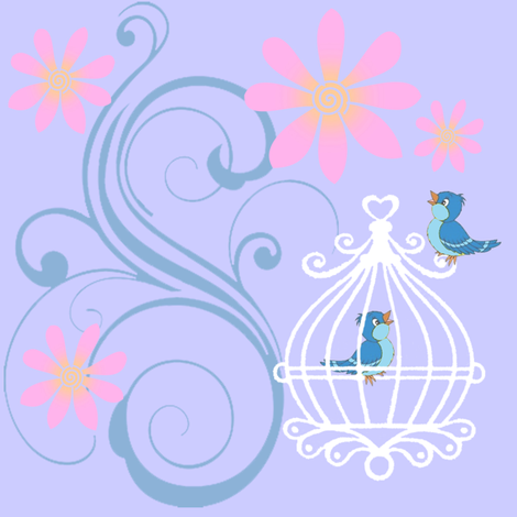 birdcages blue fabric by krs_expressions on Spoonflower - custom fabric