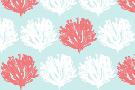 Seaweed Love Lt Aqua Salmon White Fabric -  custom pontoon decals